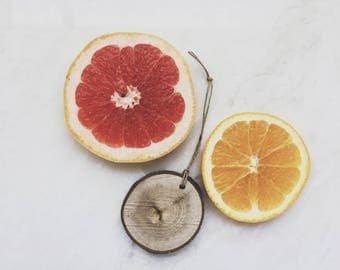 Citrus Scent Diffuser - Reclaimed Wood Slice - Grapefruit Lemon Lime Orange - Air Freshener - Car Freshener - Essential Oil Diffuser
