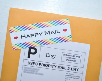 Happy Mail Stickers, Labels, Package Stickers, Packaging Supplies, Envelope Labels, Mail Labels, Pretty Packaging - Set of 24
