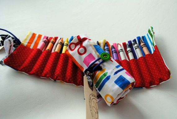 School Supply Crayon Roll-Gift for Kids-Toddler Gift-Preschool Gift-Crayon Organizer-Travel Activity-Car Toy