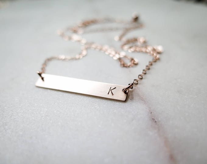 Rose Gold Bar Initial Necklace - Simple, Dainty Letter Hand Stamped Jewelry - by Betsy Farmer Designs