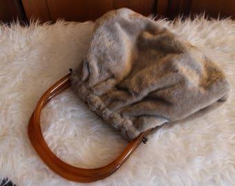 Fur and Tortoiseshell Evening Vintage Handbag