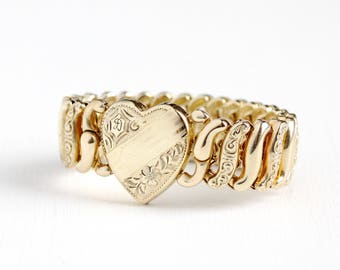 Vintage Gold Filled Initial Letter D Heart Expansion Bracelet - 1940s Stretch Sweetheart Pitman Keeler American Queen Monogrammed Jewelry