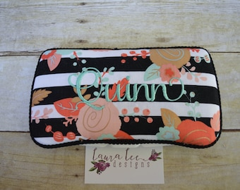 Travel Baby Wipe Case in Pink Coral Mint and Metallic Gold Floral on Black and White Stripes, Flower Diaper Wipecase, Baby Shower Gift