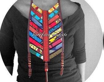 Striking African necklace, Handmade wearable art, One of a Kind Bohemian Patchwork Collar, B Modiste, Unique statement Breastplate, One size