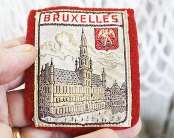 Vintage Bruxelles Travel Patch, Brussels Belgium Travel Patch Souvenir