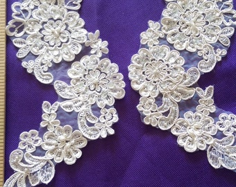 Iridescent floral beaded and sequined applique pairs