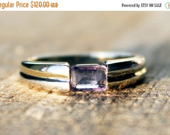 SALE10 Vintage Ladies Amethyst Ring Baguette Engagement White Yellow  Gold 0.34ct 9ct 9k | FREE SHIPPING | Size 0.5 / 7.5