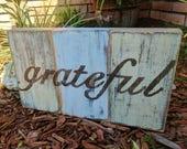 GRATEFUL Small Wooden Sign, Shelf Sitter, Rustic Decor, Wall Art