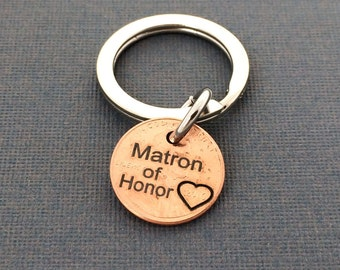Matron of Honor Keychain -  Wedding Gift - Personalized Keychain  - Hand Stamped -  Keychain - Wedding - Friend - Bridesmaid - Bridal Party