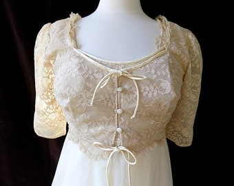 Vintage Peignoir and NIghtgown Set in Double Nylon Chiffon & Lace