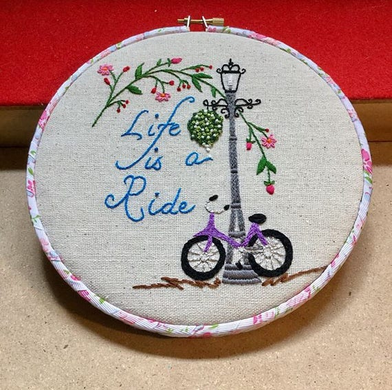 Life is a Ride Hand Embroidered Hoop Art, Cycling, Biking, Cyclist, Fun Ride, Whimsical, Hand Embroidered