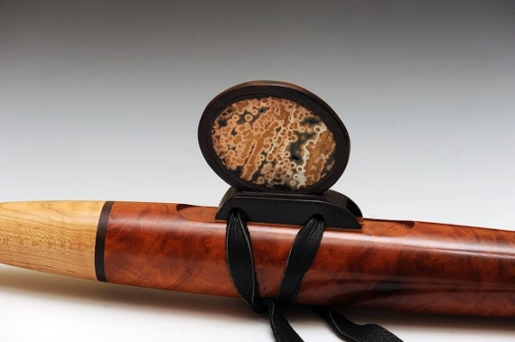 Native American Style Flute Oregon Madrone Burl with Ocean Jasper