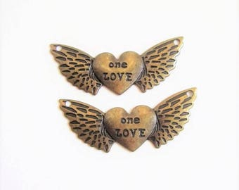 ONE LOVE charm heart with wings in antique bronze -set of 2
