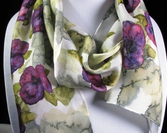 Scarf, Silk Scarf, Pansy Scarf, Purple, Moss, Hand Painted Silk Scarf - 8x54 - Quintess - Pansy Abstract