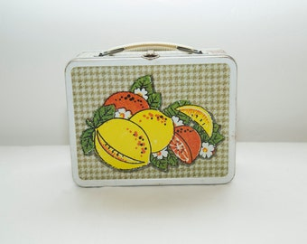 Vintage 1970s Ohio Art Lunch Box with Citrus and Watermelon