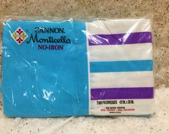 Vintage Mod Striped Pillowcases Aqua Blue Purple Unopened Unused
