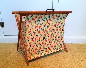 Vintage Knitting Basket Folding Feedsack Fabric Feather Print