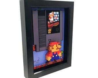 Super Mario Bros Nintendo 8 Bit 3D Art Video Game Art Nintendo Art Super Mario Art Print Mario Bros NES Video Games