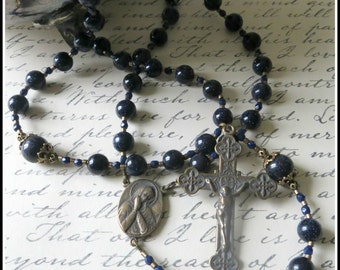 Large Bronze Catholic Rosary in Blue Goldstone