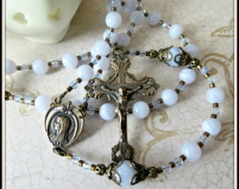 Handmade Rosary in Blue Lace Agate with Bronze Medals