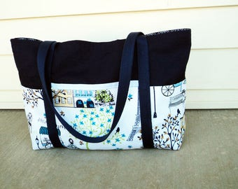 Handmade Paris Theme Cotton Tote, Lots of Pockets, Handmade Large Navy Cotton Tote, TOT22479
