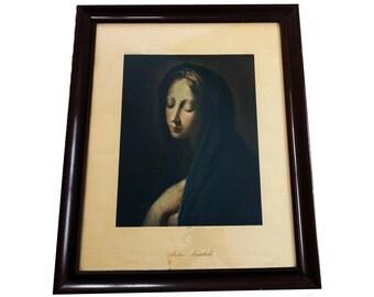 Antique Framed Virgin Mary Renaissance Print  - Virgin  Mary Framed- Antique French Religious Lithograph Picture