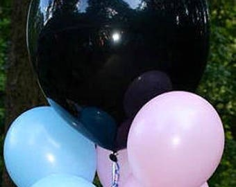 """1) Baby Gender reveal confetti balloon. 24"""" Black balloons with confetti. Plus 3 pink and 3 blue balloons (11"""")"""