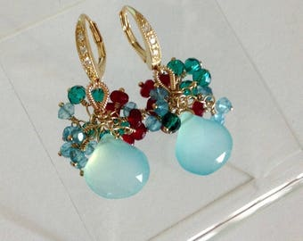 Ashira Aqua Chalcedony Gemstones, Aventurine, Paraiba Green Quartz, Sky Blue Topaz Wire Wrapped Earrings - 1 3/8""