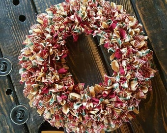 "Primitive Rag Wreath in Burgundy and Green Homespun,  15"" Farmhouse Country Door Wreath, Handmade in NJ"
