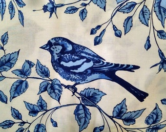 Cotton Fabric, 1/2 Yard, Bird on the Vine, Blue, White, Leaves, Michael Miller, Quilt, Quilting, Pillow, Sewing, Gift, Spring Home Decor