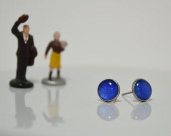 Calming Blue, Baby Moon Paper Opal Stainless Steel Stud Earrings