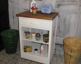 Antique Vintage Kitchen Island on Wheels w French Graphics
