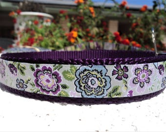 """Small Girl Dog Collar 3/4"""" width Lavender Floral Quick Release buckle adjustable - no martingale, limited ribbon"""