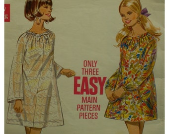 "Peasant Tent Dress Pattern, Tunic, Gathered Neck, Long Sleeves, 1960s, Butterick No. 5279 Size 14 Bust 36"" 92cm"