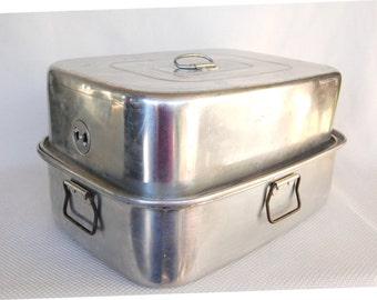 Large Funky Old MIRRO Aluminum Turkey Roaster Model 5365M With Roasting Rack Insert Large Covered Roaster Very Large 16 X 12 X 9