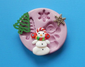 Snowman Mold Christmas Tree Snowflake Polymer Clay Resin Fondant Silicone Mould