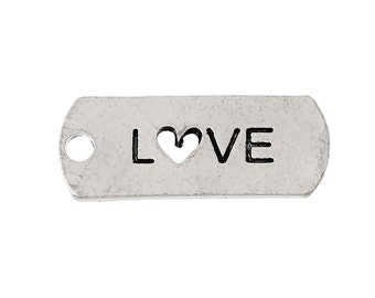 5 Antique Silver LOVE Heart Tag Pendant Charms 21mm