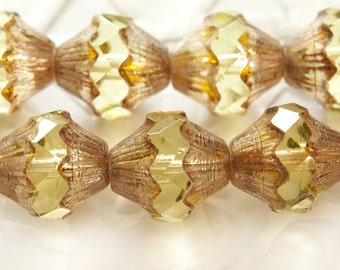 Fire Polished Cathedral Bicone Beads 11x9 mm Pale Lemon with Golden Tops 4 pcs