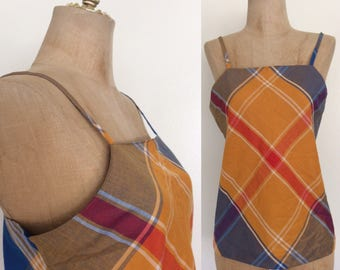 1970's Cotton Blue Red & Yellow Plaid Top Summery Vintage Tank Shirt Size XS by Maeberry Vintage