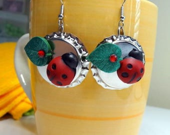 Ladybug Bottle Cap Earrings