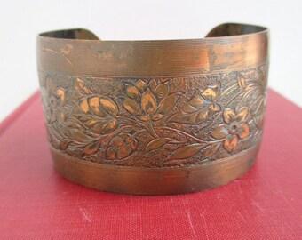 Wide Solid Copper Cuff Bracelet - Detailed Flower Design, Vintage Darker