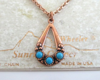 "Copper Pendant Necklace - Vintage Southwestern Sunrise Copper, Unused Carded 18"""