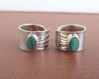 2 Sterling Silver Ear Cuffs w/ Green Malachite Stones - Vintage Southwestern / Native American
