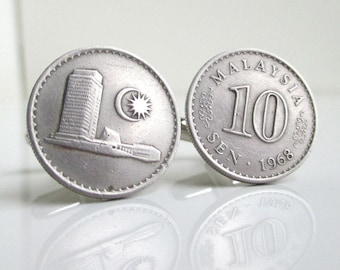 MALAYSIA Coin Cuff Links - Vintage 10 Sen Repurposed Coins, Silver Tone