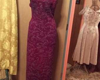 75% Off Sale Vintage 1980s Jump Sparkle Cranberry Evening Gown/USA/Sz 9/10