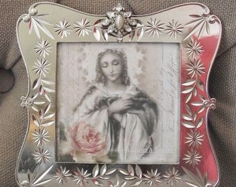 Picture Frame - Nicole Miller Embellished  3 1/2  x 3 1/2  Silvertone  Metal Picture Frame with Pearl and  Rhinestone  Jewel