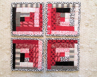 Quilted Log Cabin Patchwork Coaster Set of 4
