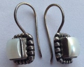 Vintage Silver Mother of Pearl Earrings Bead Ball Design