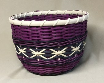 Hand Woven, Tall Round Bowl-Type Basket with Wood Base, Amythest and Black