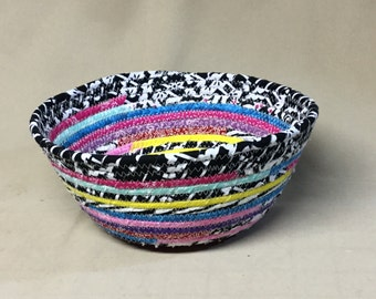 Round Coiled Fabric Bowl, Boho Style, Various Colors, Black and White Top Band